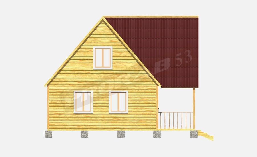 Дом из бруса. брусовой дом 6х8 с террасой и балконом.